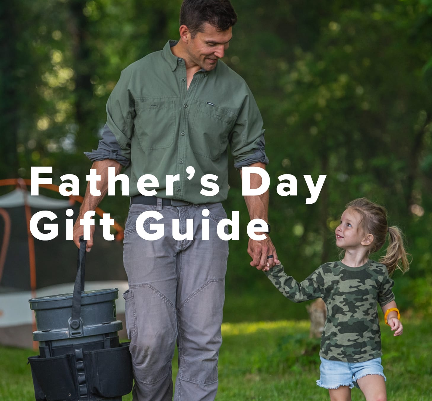 Father's Day Gift Guide, image of a father and daughter camping