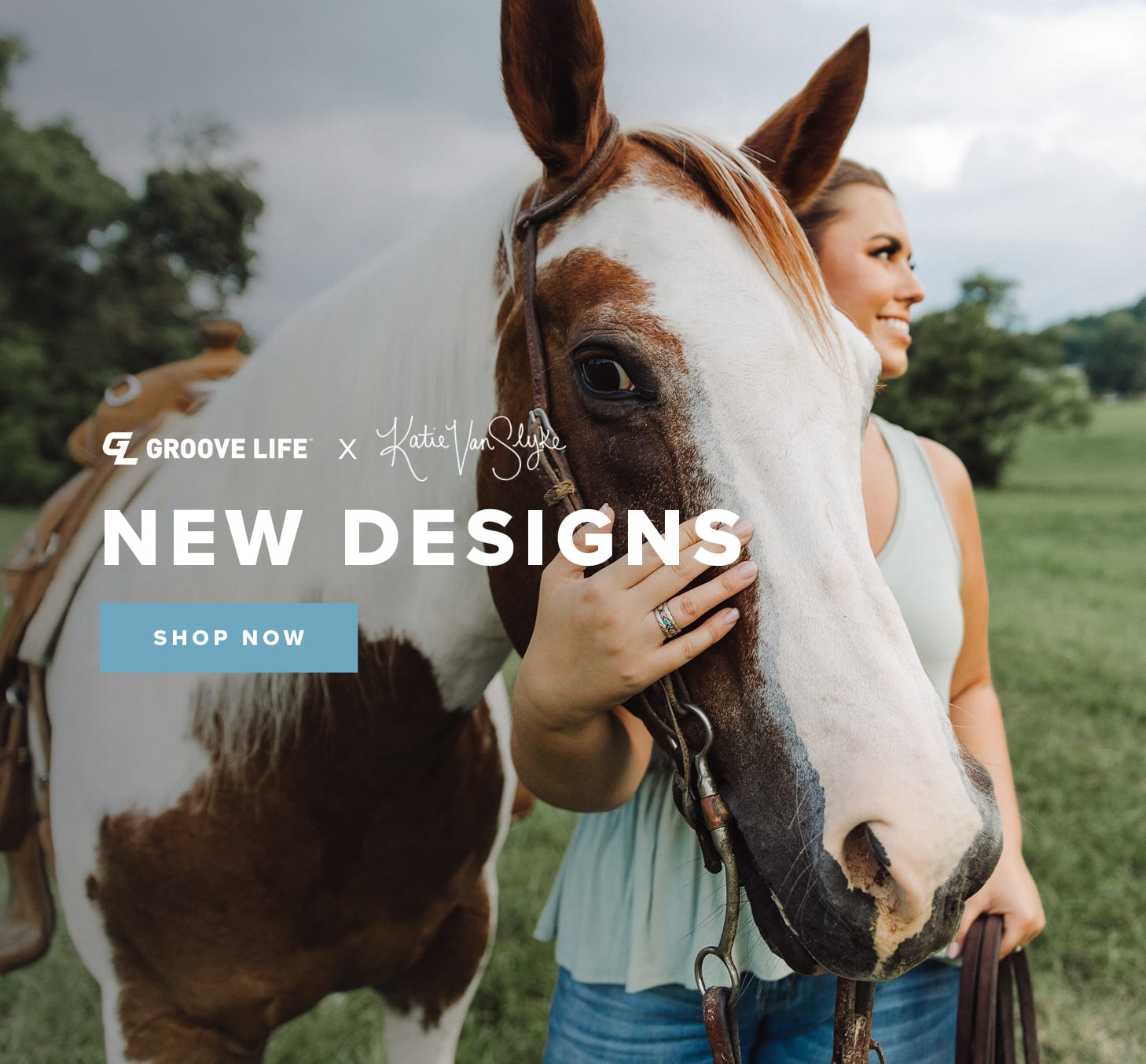 Shop New Designs by Katie Van Slyke, featuring Katie and her paint horse