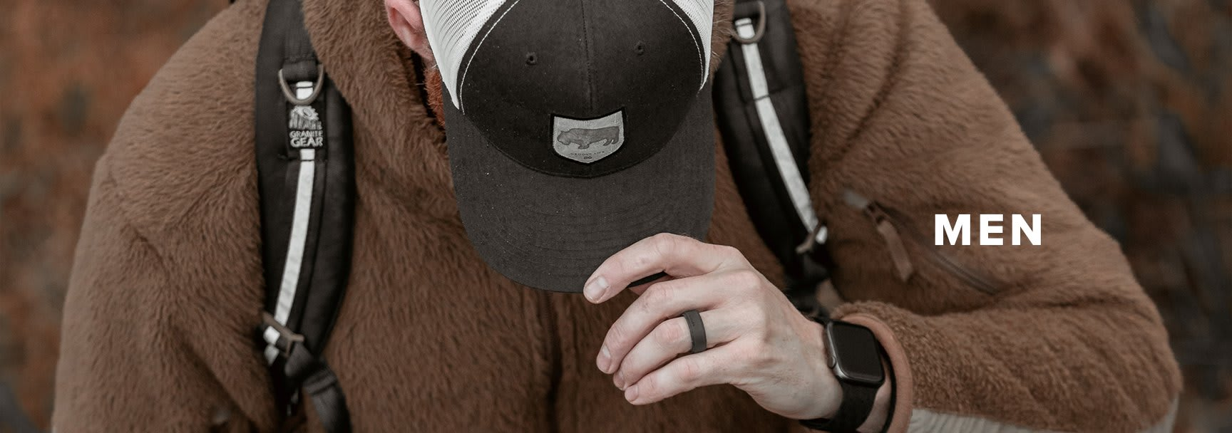 Men's Silicone Rings, man in a brown fuzzy jacket pulling his cap down while he looks down