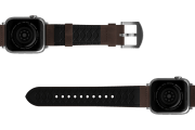 Vulcan Ascent Leather Apple   watch band with  silver hardware viewed bottom up