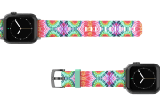 Gypsy Eyes Apple watch band  with gray hardware viewed top down