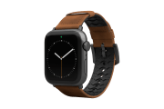 Vulcan Trek Leather Apple Watch Band   with grey hardware viewed front on