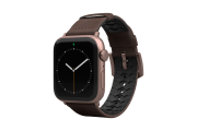 Vulcan Ascent Leather Apple Watch Band with rose gold hardware viewed front on