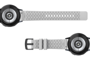 Solid White 20mm watch band with gray hardware viewed bottom up