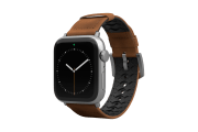Vulcan Trek Leather Apple Watch Band Tan/Silver - Groove Life