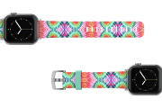 Gypsy Eyes Apple watch band  with silver hardware viewed top down