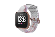 Carrera Marble Fitbit Versa Watch Band with rose gold hardware viewed front on