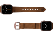 Vulcan Trek Leather Apple watch band  with rose gold hardware viewed top down