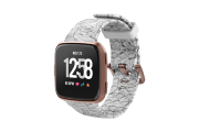 Winter Rose Fitbit Versa Watch Band with rose gold hardware viewed front on