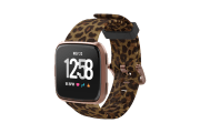 Leopard Fitbit Versa Watch Band with rose gold hardware viewed front on