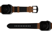 Vulcan Trek Leather Apple watch band  with gray hardware viewed bottom up