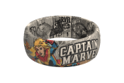 Captain Marvel Black And White Comic Ring viewed front on