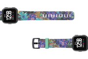 Twilight Blossom Fitbit Versa watch band with gray hardware viewed top down