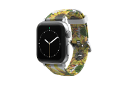 Sunflower Apple Watch Band with silver hardware viewed front on
