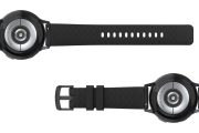 Solid Black  20mm watch band viewed bottom up