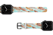 Brave - Katie Van Slyke Apple watch band with gray hardware viewed top down