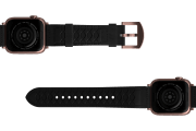 Vulcan Obsidian Black Leather Apple   watch band with rose gold hardware viewed bottom up