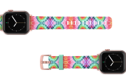 Gypsy Eyes Apple watch band  with rose gold hardware viewed top down