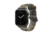 Realtree Edge Apple Watch Band with gray hardware viewed front on