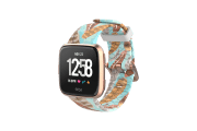 Brave - Katie Van Slyke Fitbit Versa Watch Band with rose gold hardware viewed front on