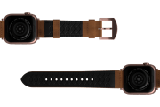 Vulcan Trek Leather Apple watch band  with rose gold hardware viewed bottom up