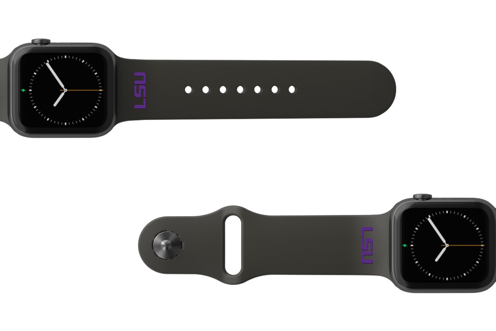 College LSU Black apple watch band with gray hardware viewed from rear