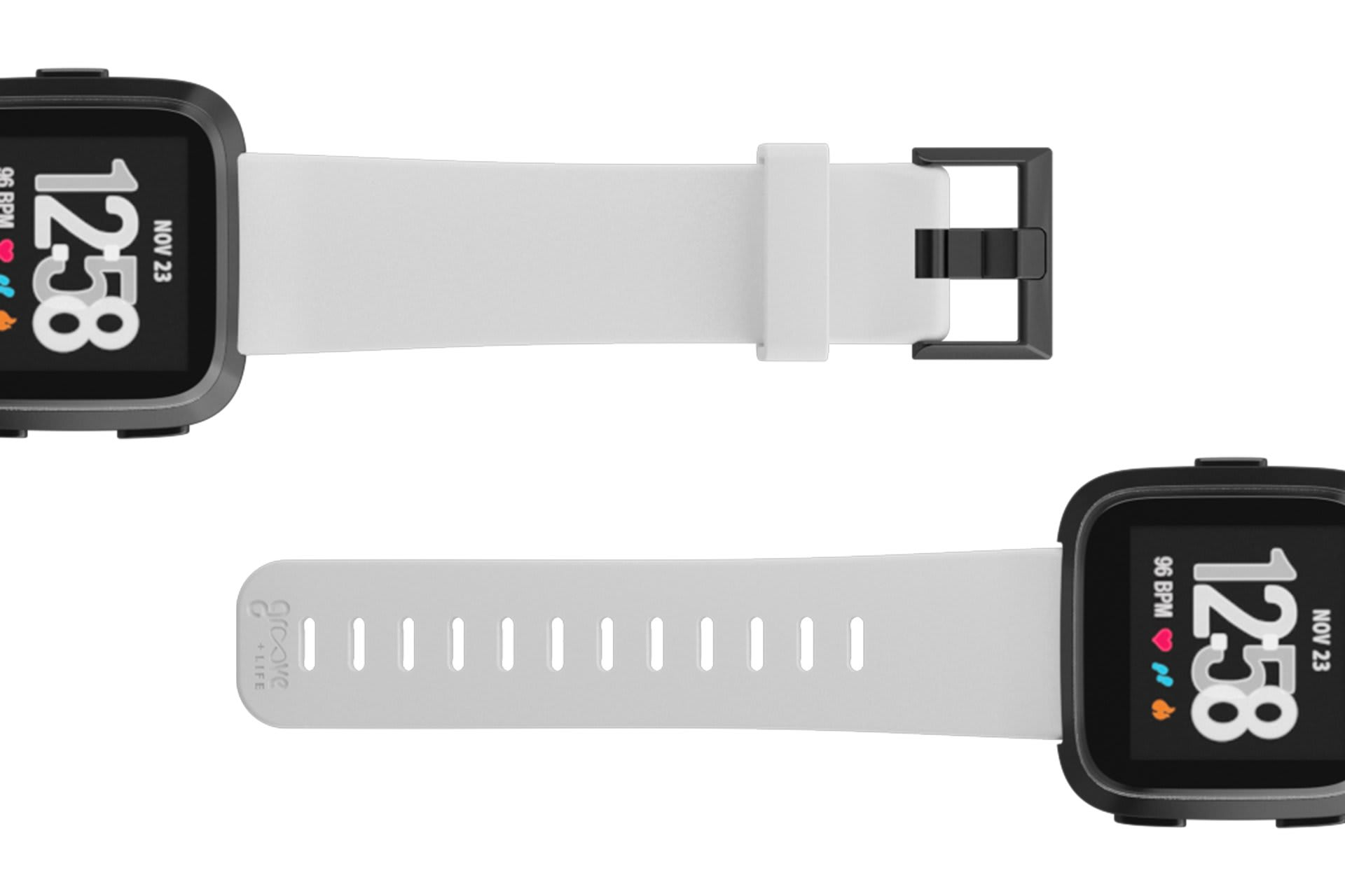 Fitbit Watch Band Versa Solid White with gray hardware viewed top down