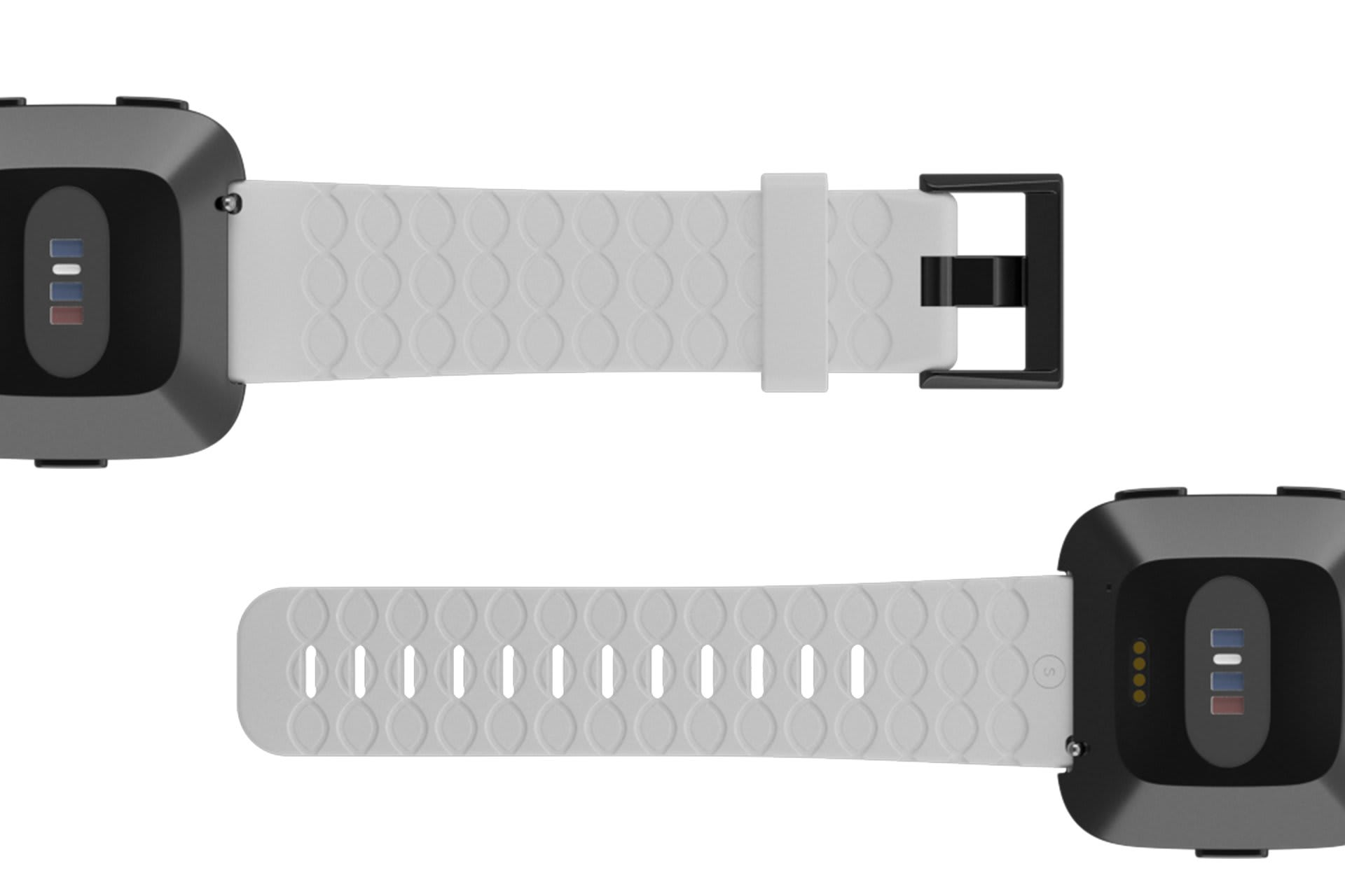 Fitbit Watch Band Versa Solid White with gray hardware viewed bottom up