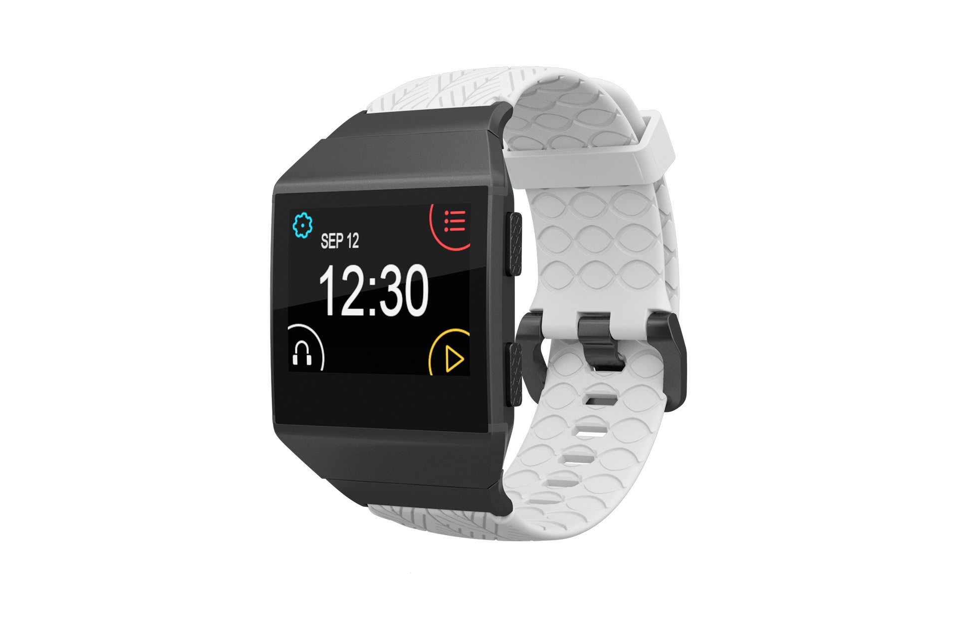 Fitbit Watch Band Ionic Dimension Arrows White with gray hardware viewed front on