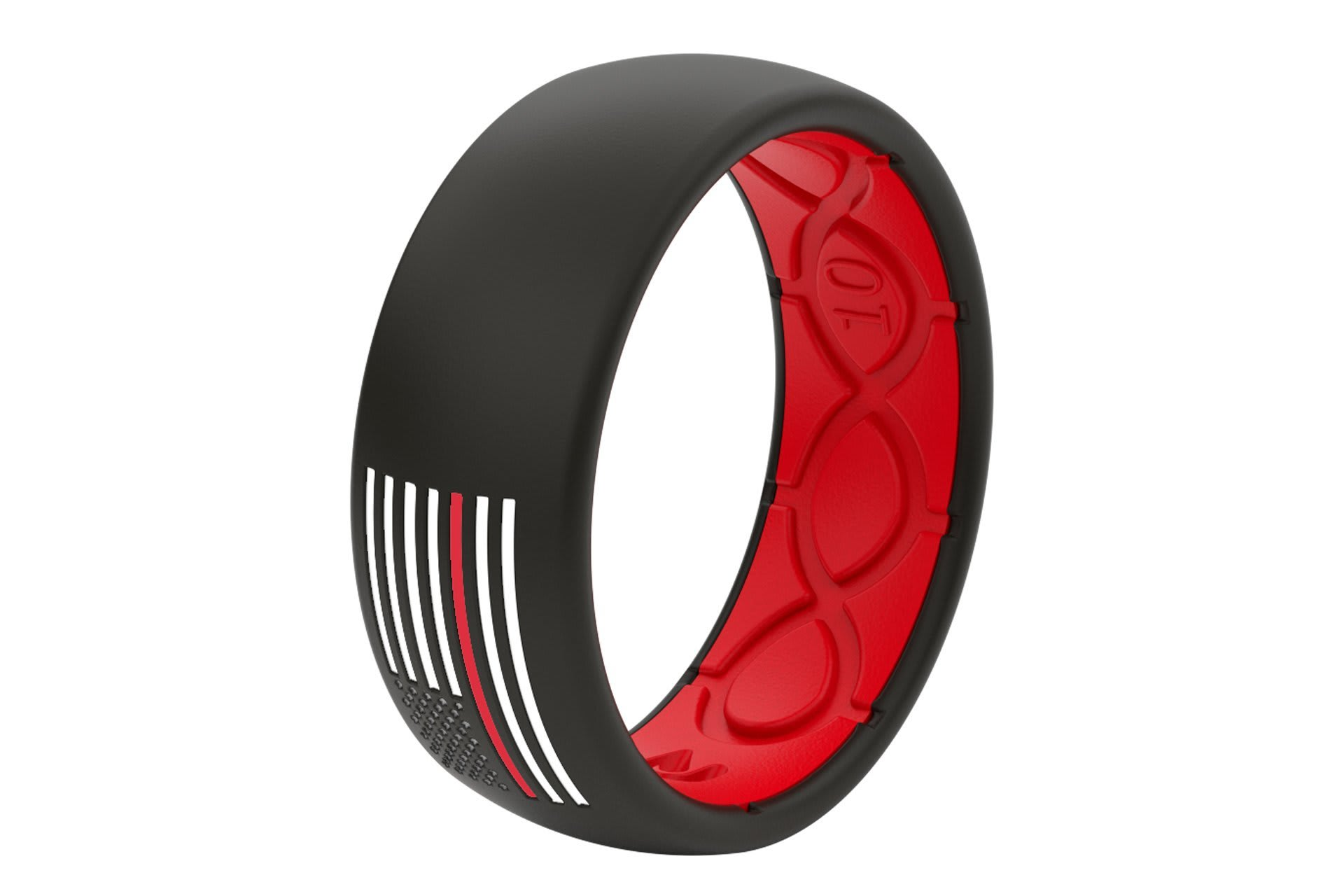 Original Protector Fire Red/White Flag - Groove Life Silicone Wedding Rings