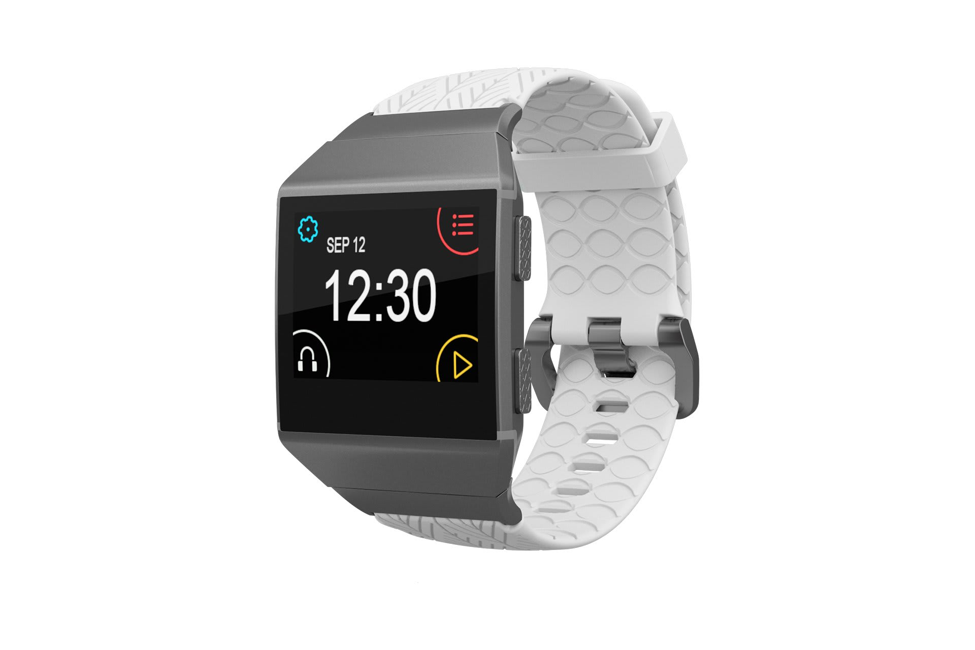 Fitbit Watch Band Ionic Dimension Arrows White with silver hardware viewed front on