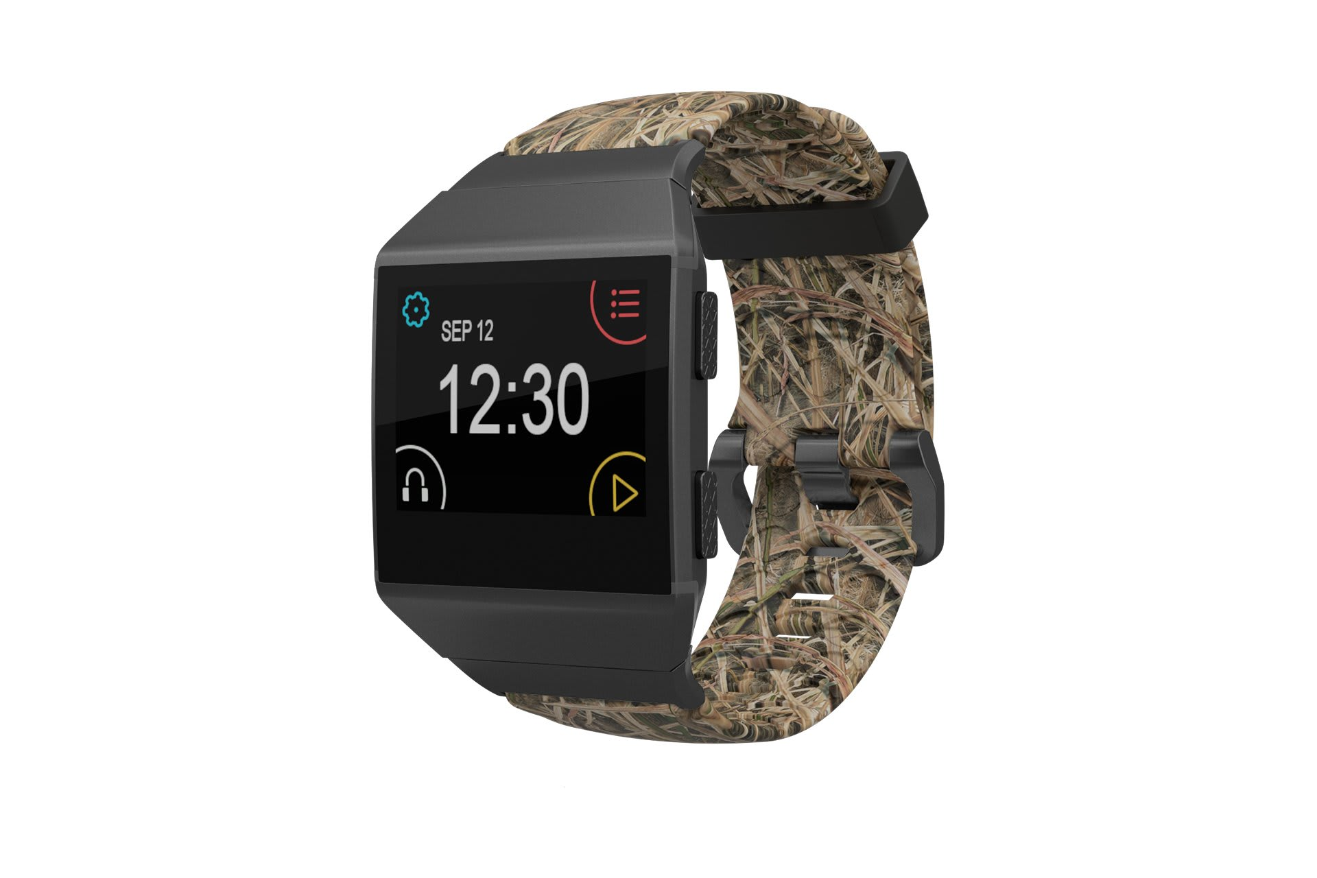 Fitbit Watch Band Ionic Mossy Oak Blades with gray hardware viewed front on