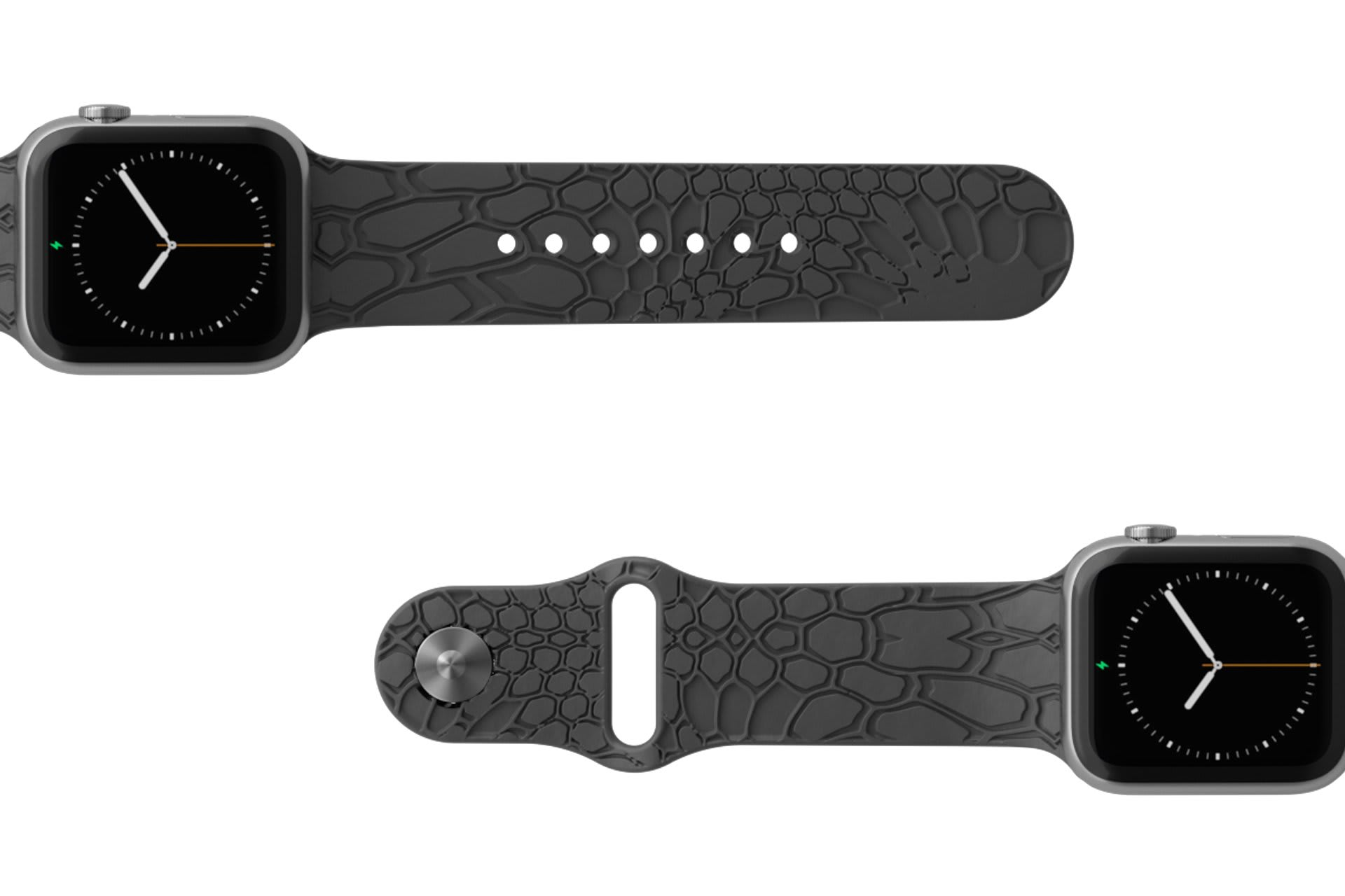 Dimension Kryptek Etch Deep Stone Grey Apple watch band with silver hardware viewed top down