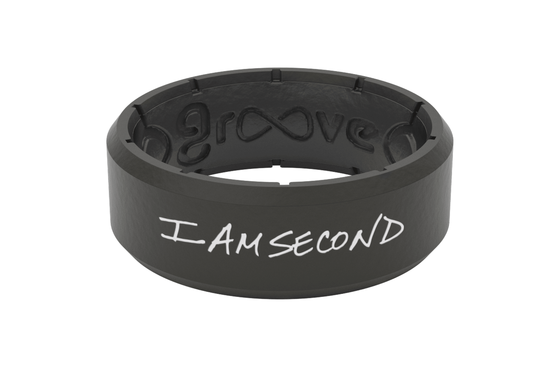 Edge I Am Second Black/White - Groove Life Silicone Wedding Rings