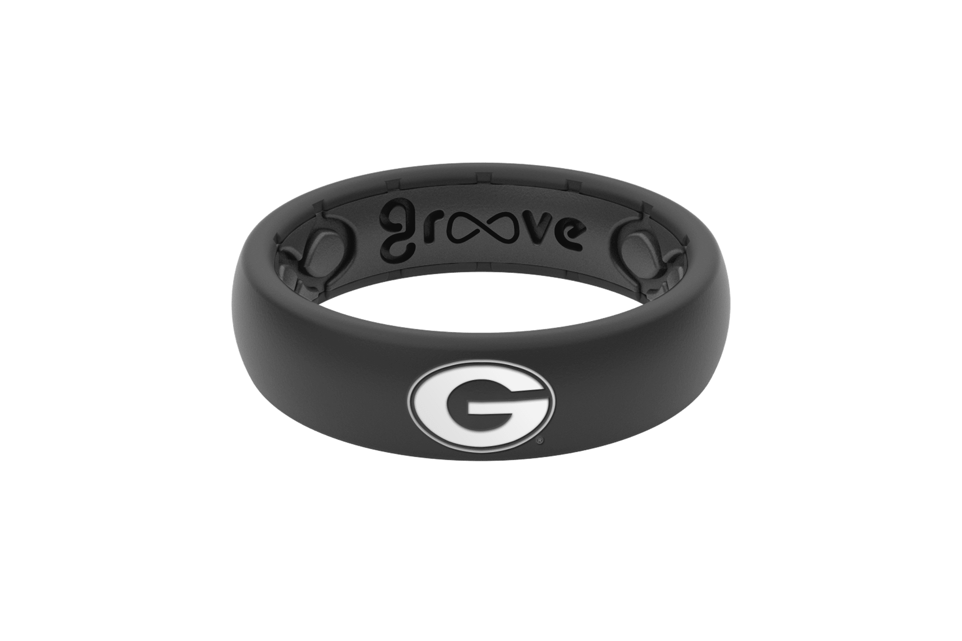 Thin College Georgia Black Logo - Groove Life Silicone Wedding Rings