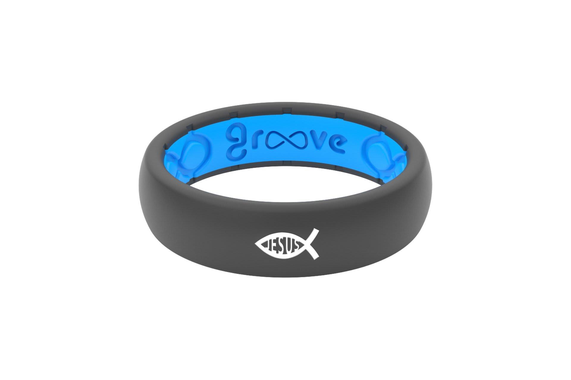 Thin Custom Ichthus Jesus Deep Stone Grey/Blue - Groove Life