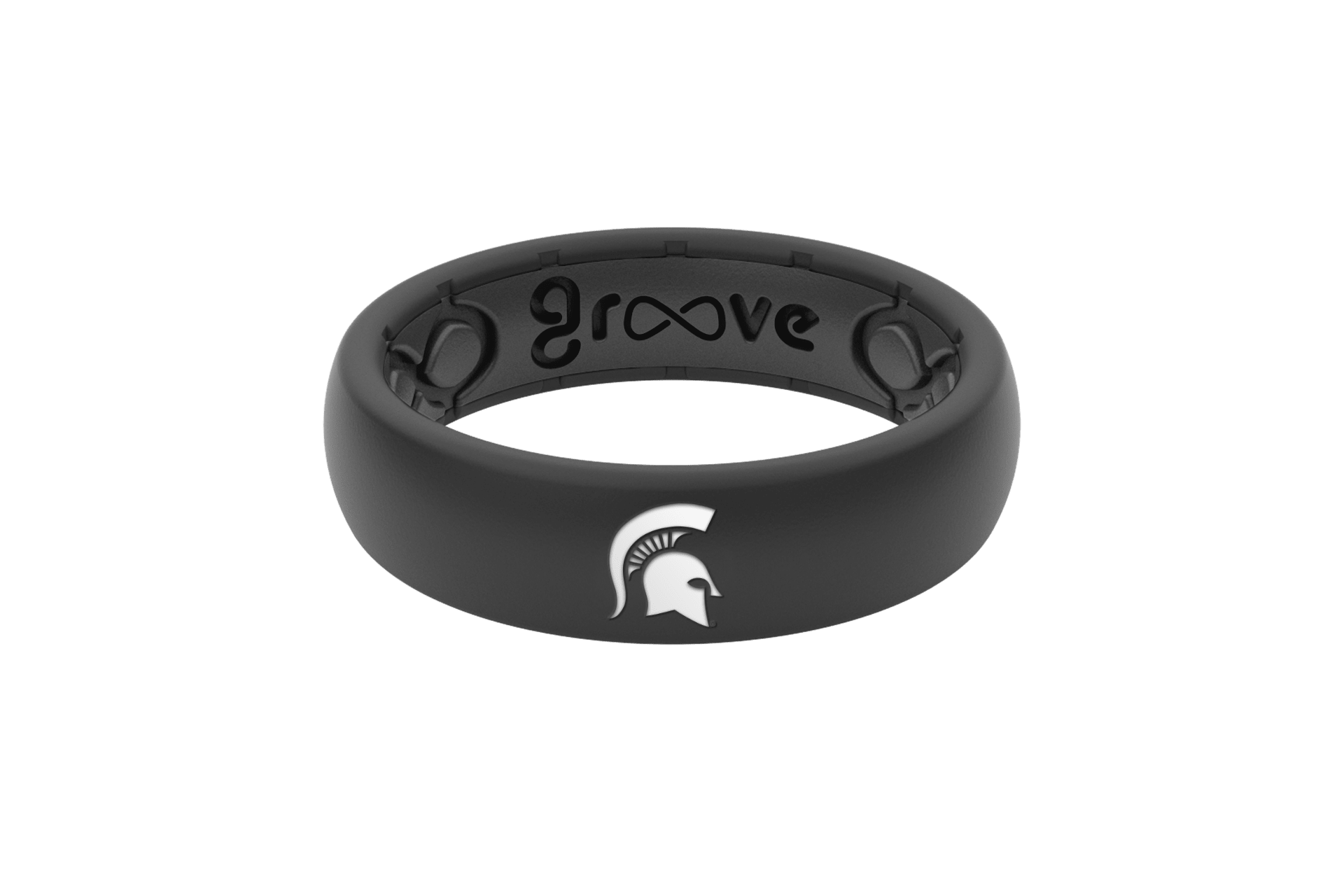 Michigan State Silicone Ring - Black - Thin  viewed front on