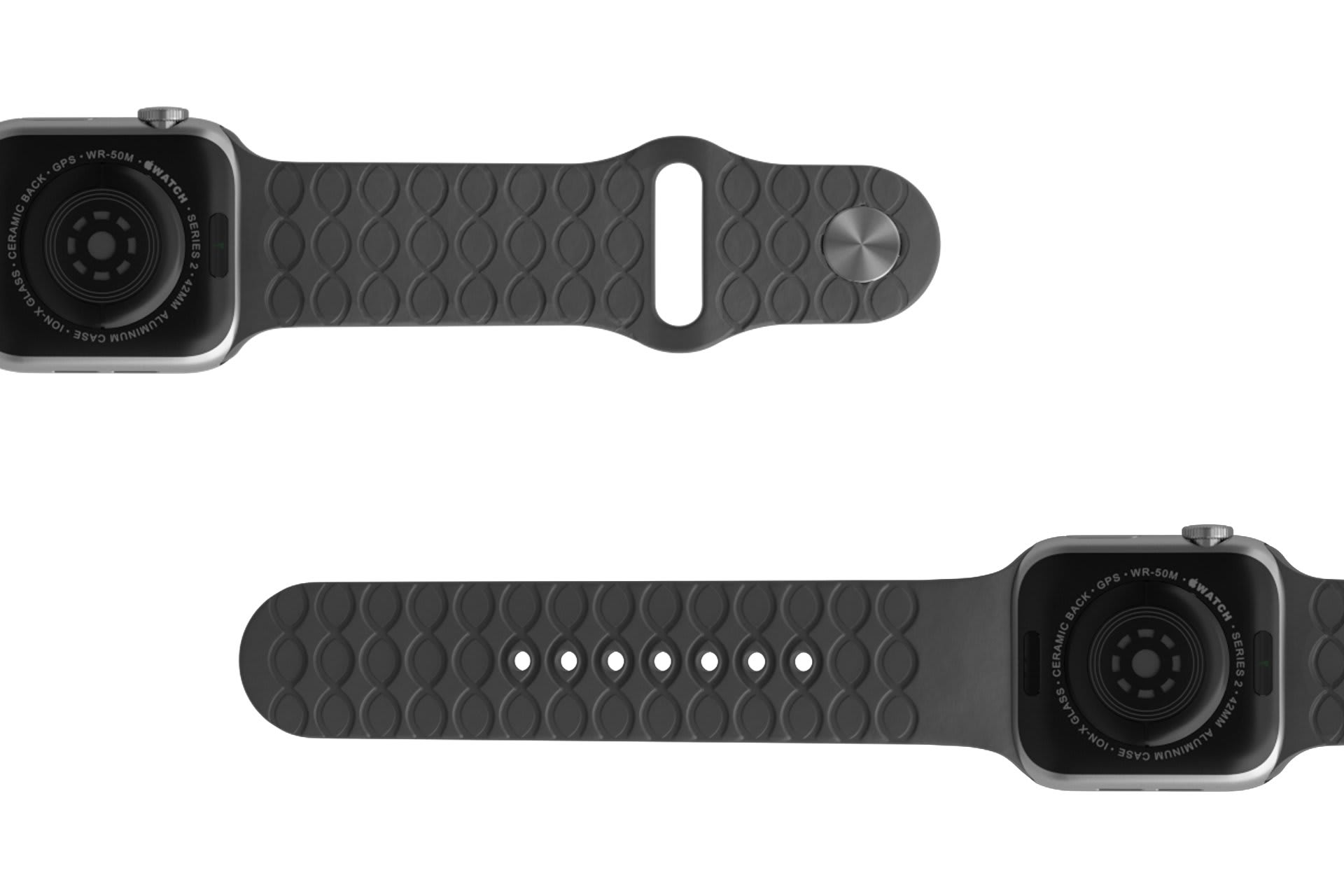 Dimension Topo Deep Stone Grey  Apple   watch band with silver hardware viewed bottom up