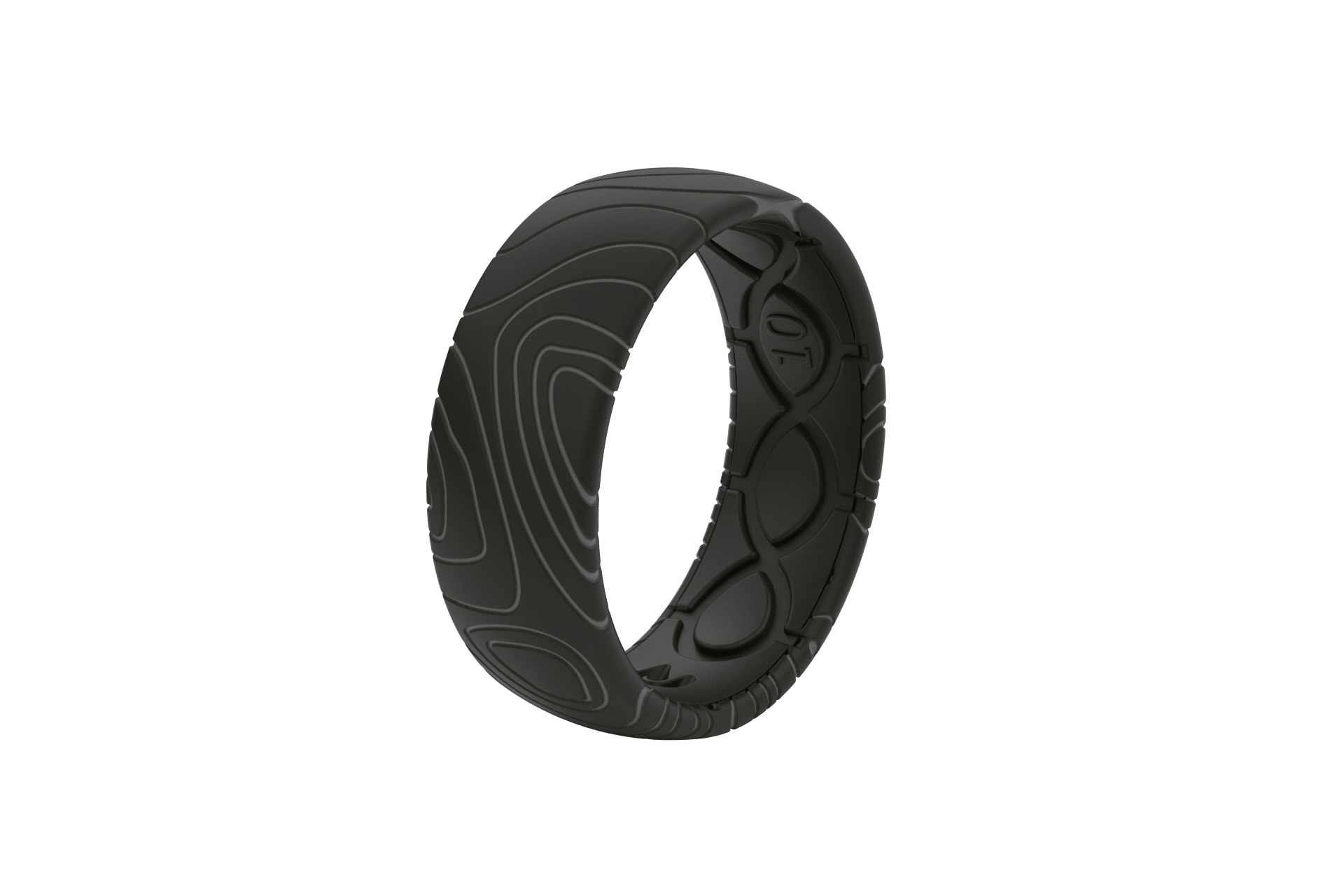 Original Dimension Topo Midnight Black/Grey - Groove Life Silicone Wedding Rings