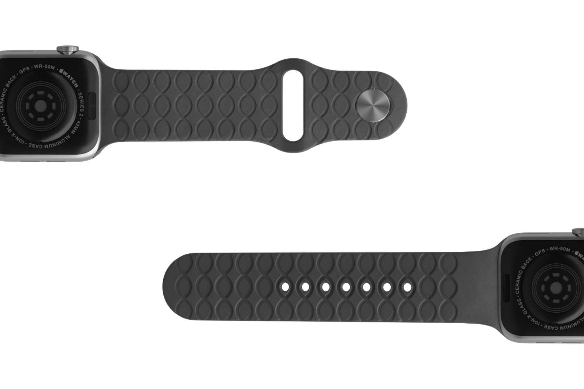 Dimension Kryptek Etch Deep Stone Grey  Apple   watch band with silver hardware viewed bottom up