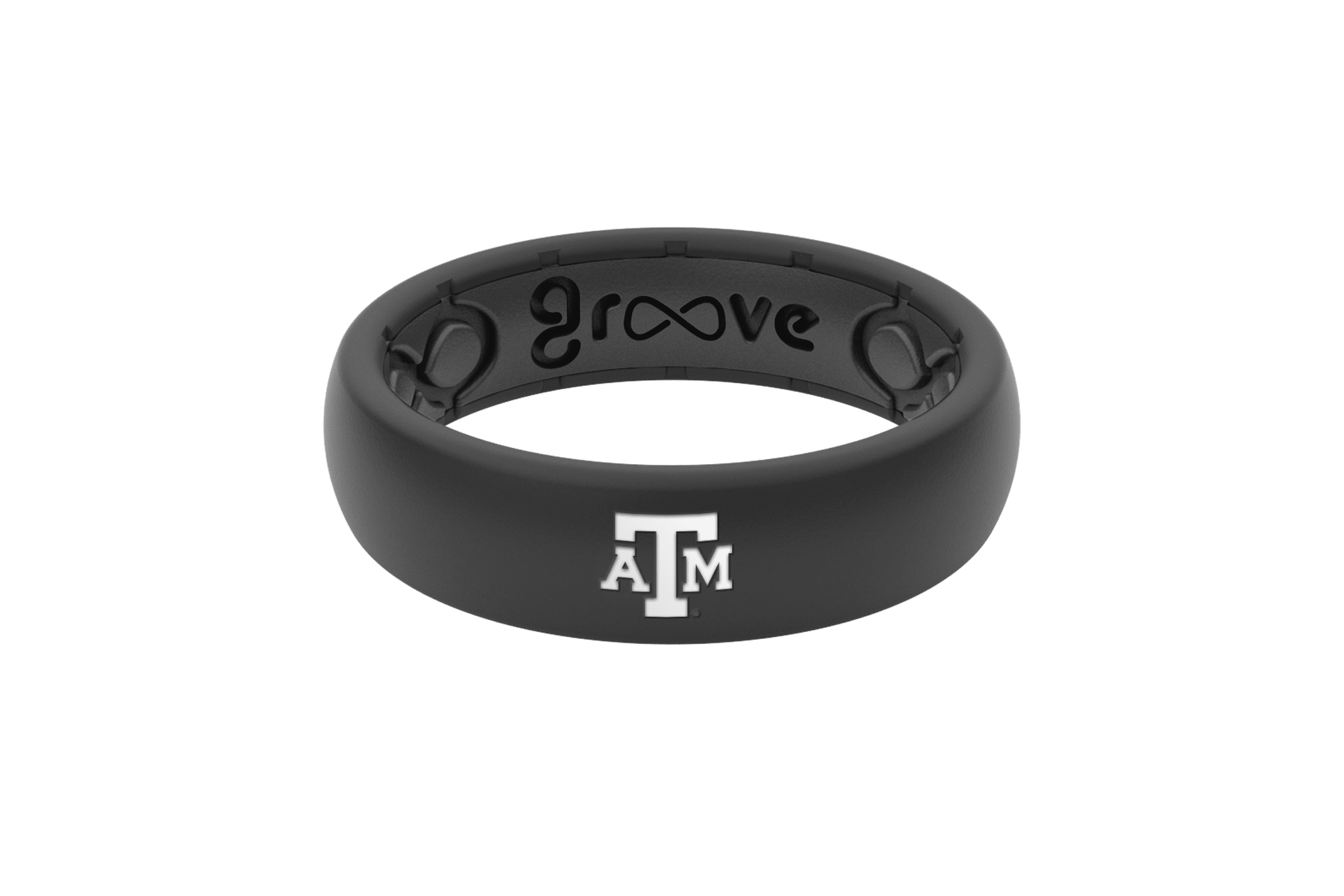 Thin College Texas A&M Black  viewed front on
