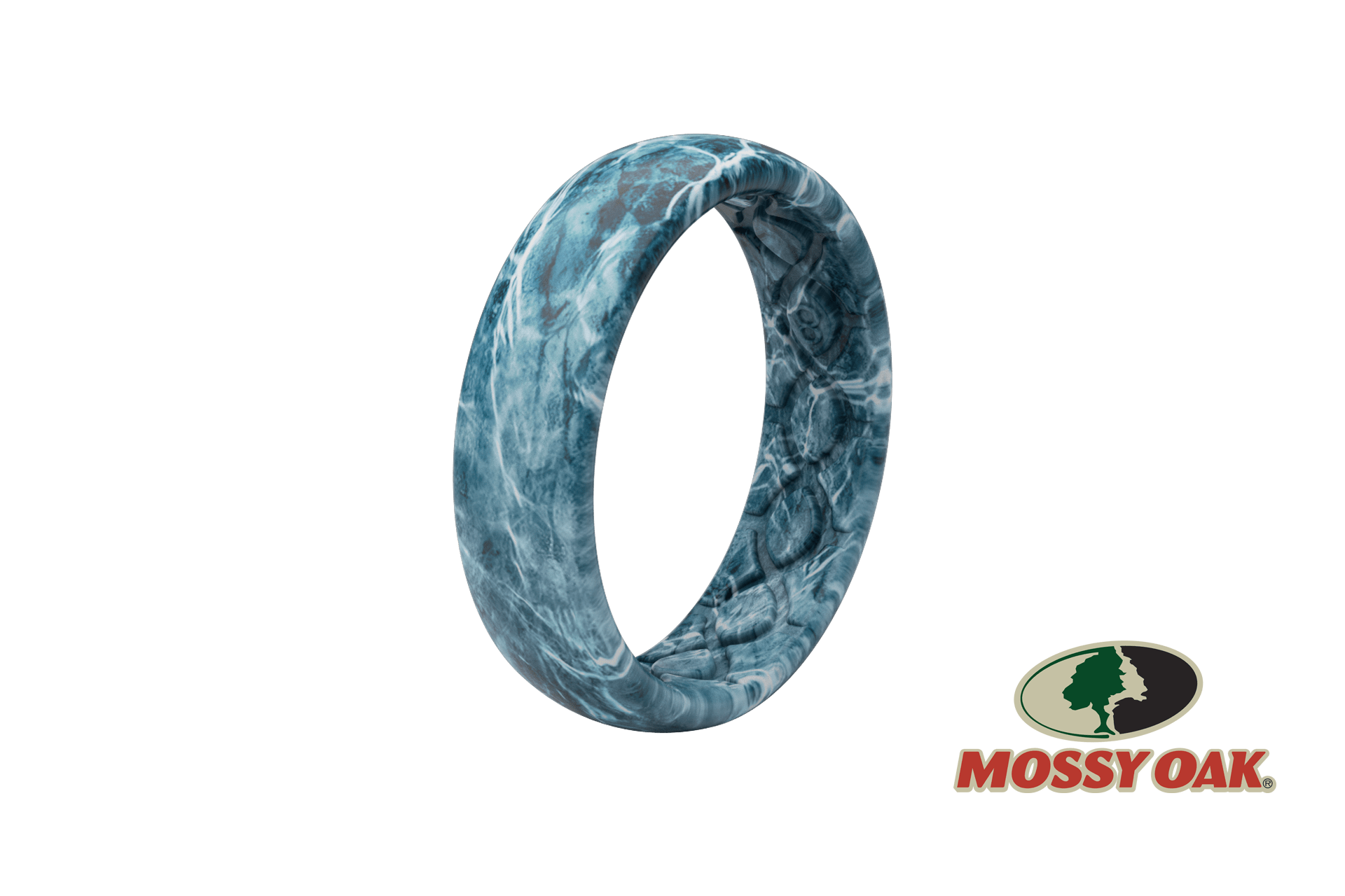 Thin Camo Mossy Oak Elements Agua Spindrift Pattern - Groove Life Silicone Wedding Rings