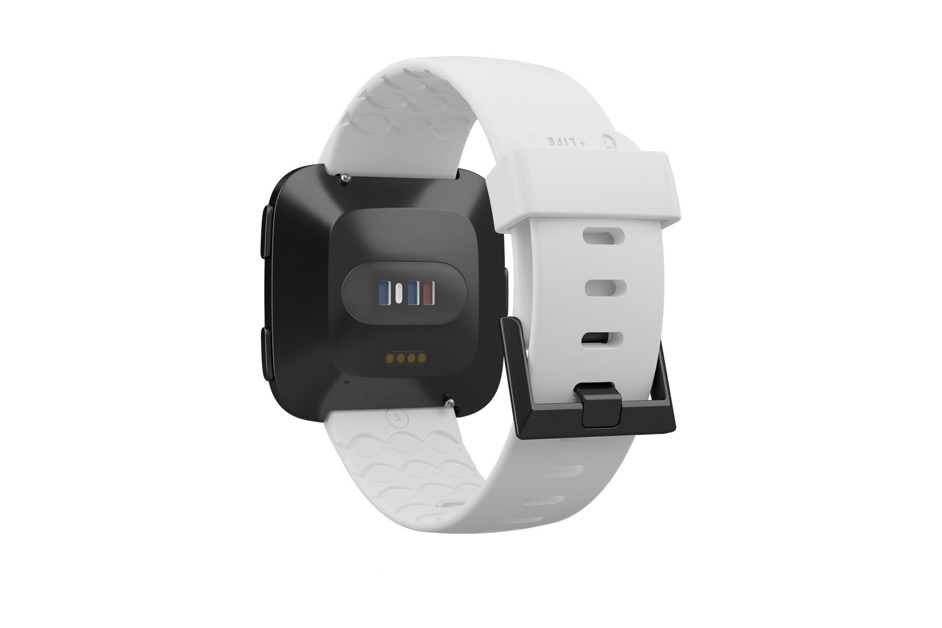 Fitbit Watch Band Versa Solid White with gray hardware viewed from rear