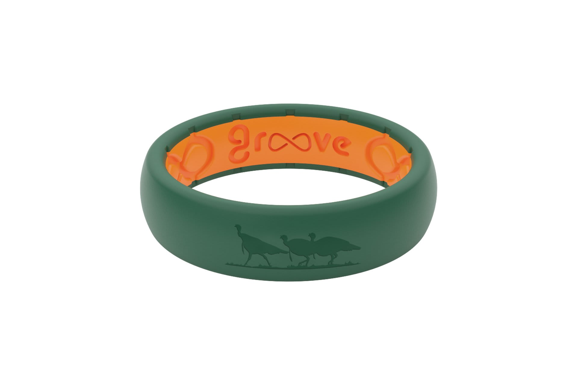 Thin NWTF Moss Green Logo - Groove Life Silicone Wedding Rings