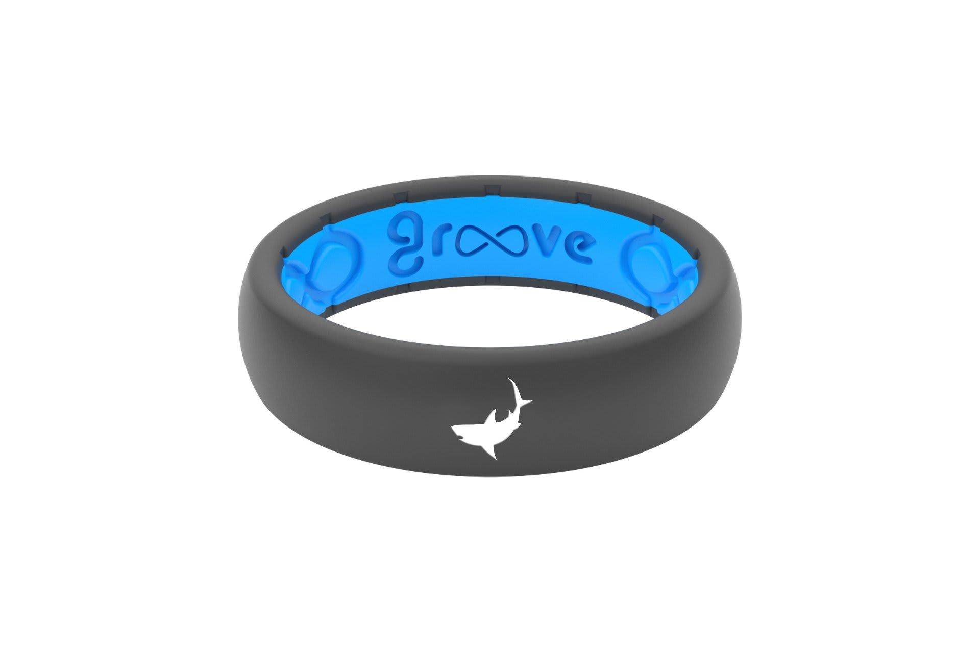 Thin Custom Shark Deep Stone Grey/Blue - Groove Life Silicone Wedding Rings