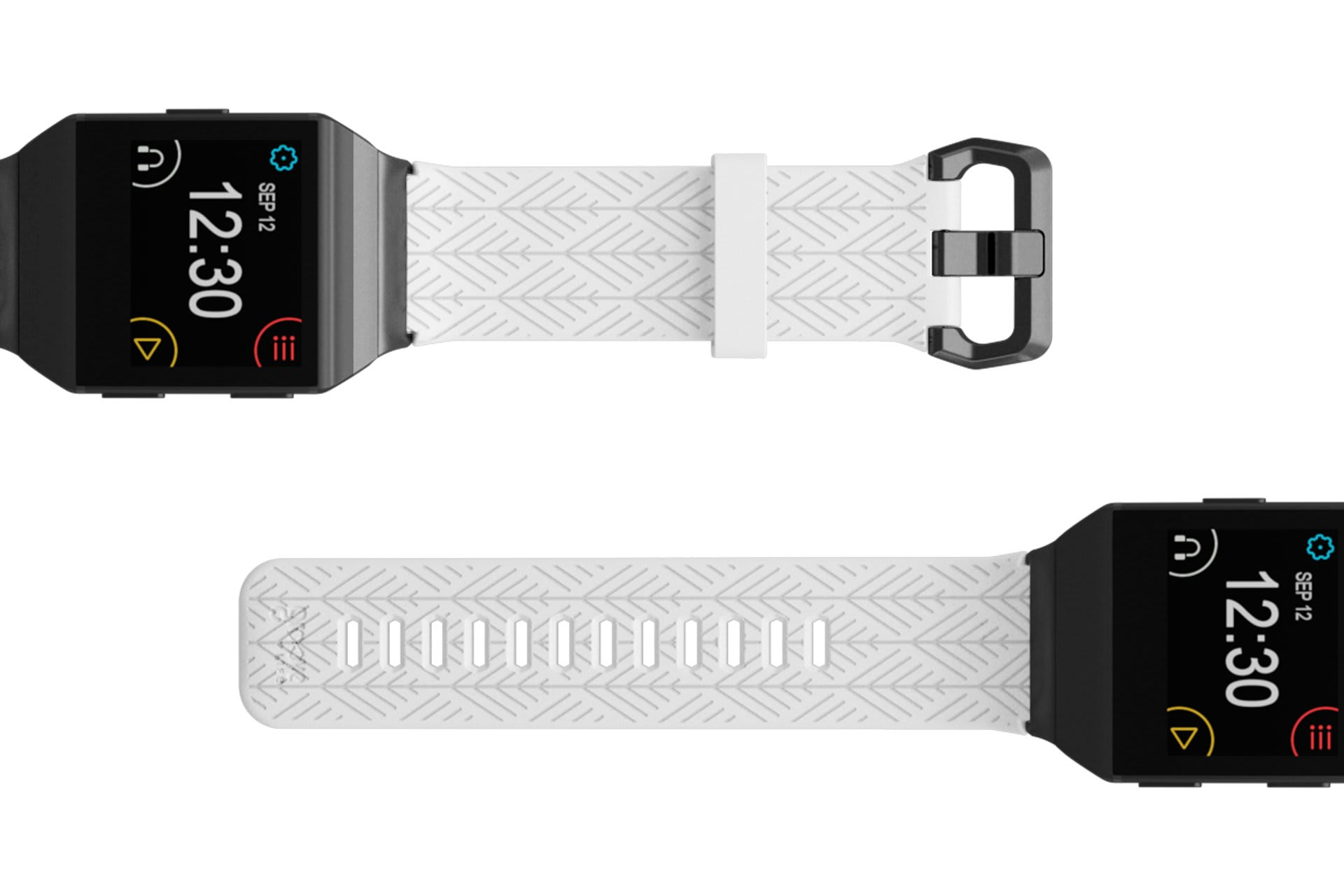 Dimension Arrows White Fitbit Ionic  watch band with gray hardware viewed top down