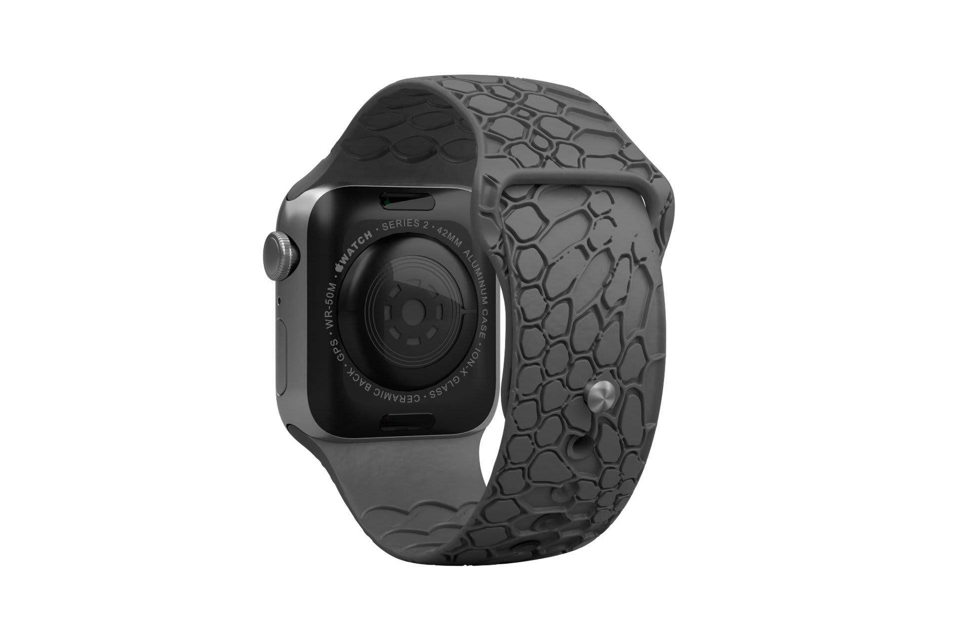 Dimension Kryptek Etch Deep Stone Grey  apple watch band with silver hardware viewed from rear