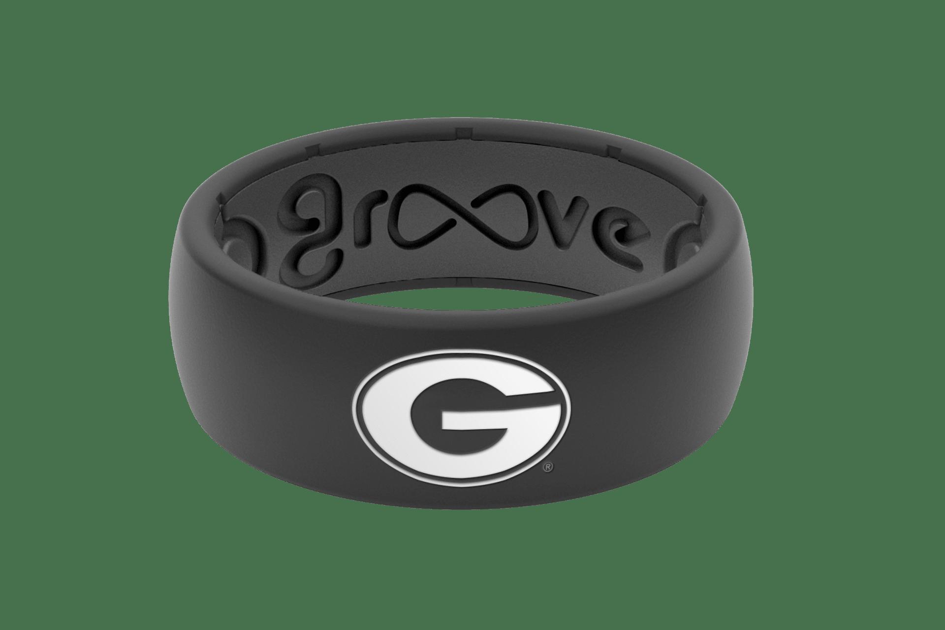 Original College Georgia Black Logo - Groove Life Silicone Wedding Rings