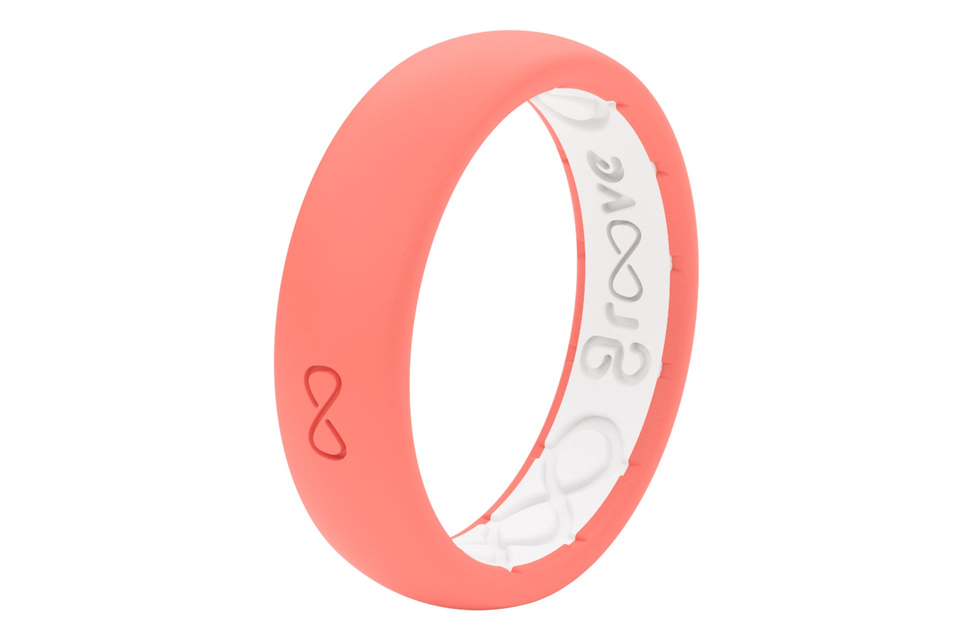 Thin Solid Coral - Groove Life Silicone Wedding Rings