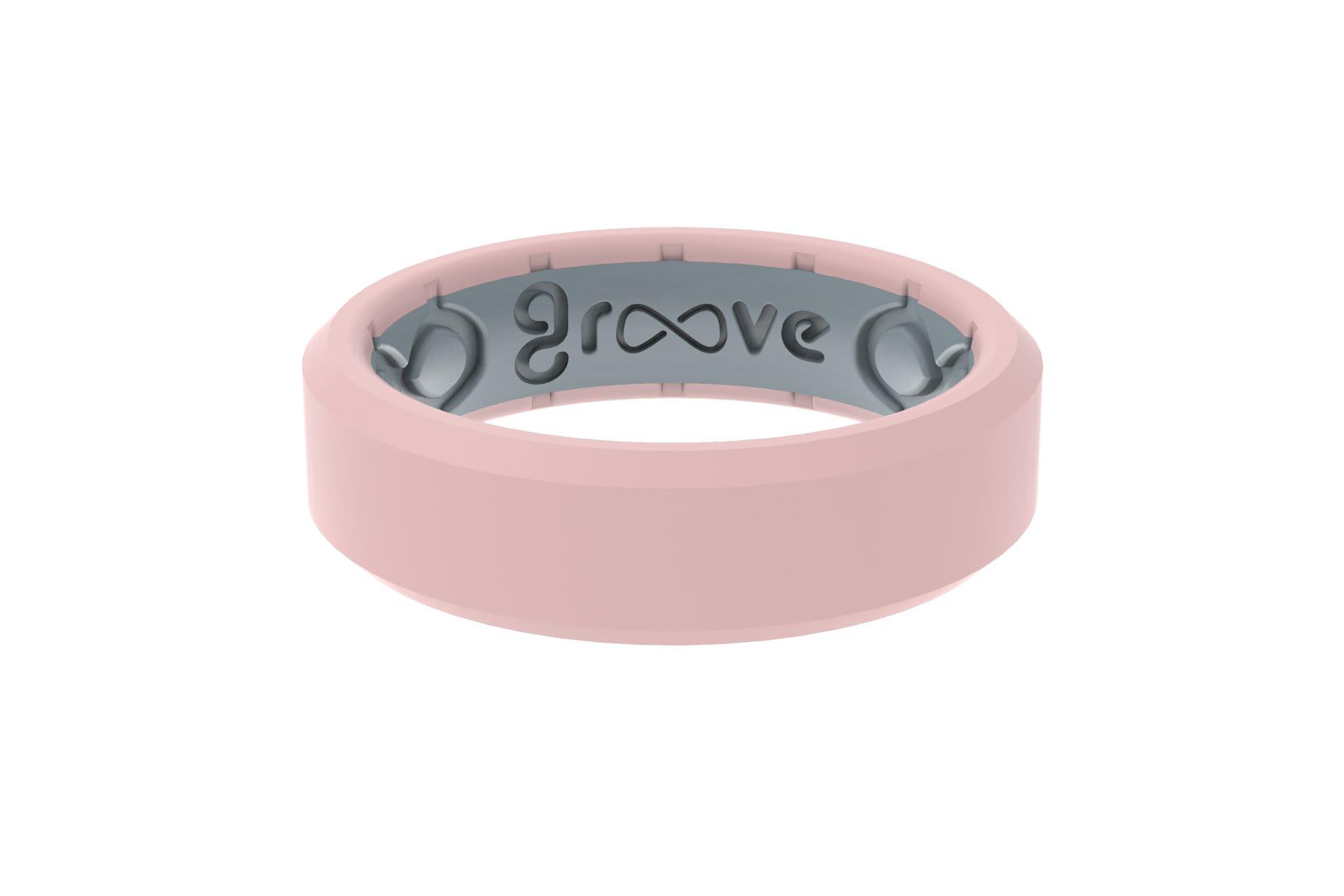 Edge Thin Rose Quartz - Groove Life Silicone Wedding Rings